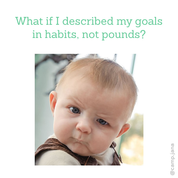 quizzical baby says: What if I described my goals in habits, not pounds?